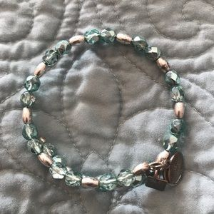 Alex and Ani silver and mint bracelet